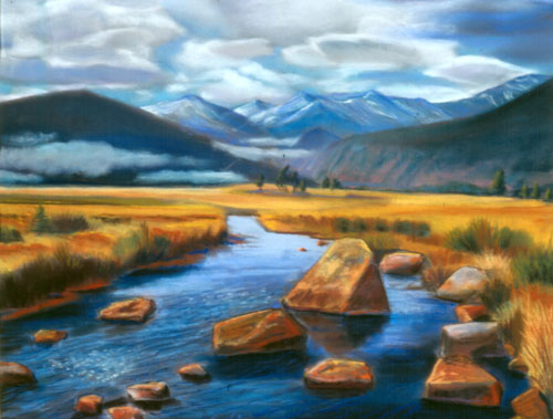 Morning Mist Rocky Mountain National Park, Colorado (landscapes, Pastel) - Fine Art by Donald G. Vogl, Fort Collins, Colorado