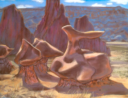 Nature As Artist Goblin Valley State Park, Utah (landscapes, Pastel) - Fine Art by Donald G. Vogl, Fort Collins, Colorado
