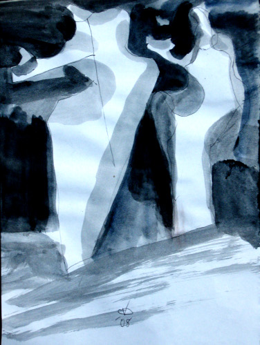 Offerings  (abstracts figures monochromes, Acrylic) - Fine Art by Donald G. Vogl, Fort Collins, Colorado