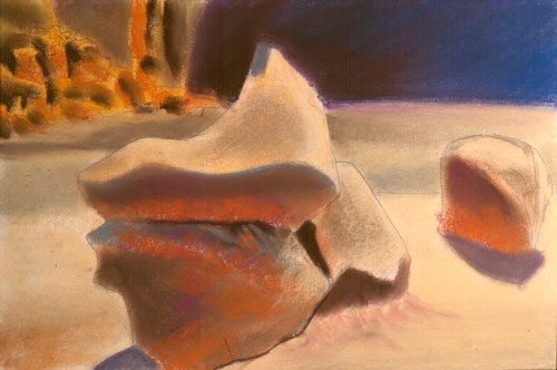 On a Pedestal Goblin Valley State Park, Utah (landscapes, Pastel) - Fine Art by Donald G. Vogl, Fort Collins, Colorado