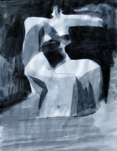 Open Arm  (abstracts figures monochromes, Acrylic) - Fine Art by Donald G. Vogl, Fort Collins, Colorado