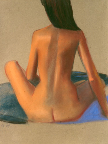 Pardon My Back  (figures nudes, Pastel) - Fine Art by Donald G. Vogl, Fort Collins, Colorado