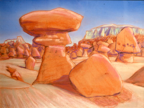 Pedestal Goblin Valley State Park, Utah (landscapes, Pastel) - Fine Art by Donald G. Vogl, Fort Collins, Colorado
