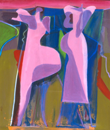 Pink Sky  (abstracts figures, Acrylic) - Fine Art by Donald G. Vogl, Fort Collins, Colorado