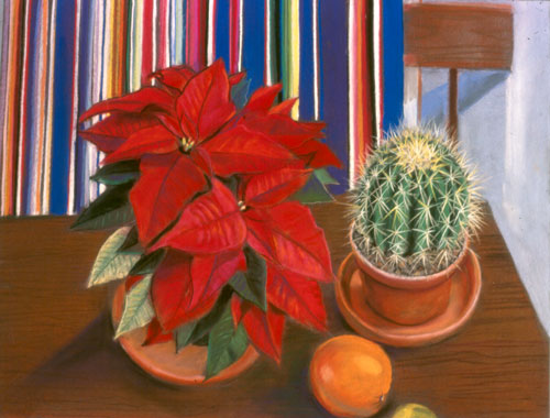 Poinsettia  (still-lifes, Pastel) - Fine Art by Donald G. Vogl, Fort Collins, Colorado