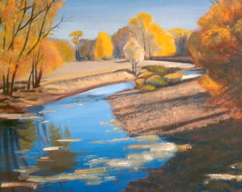 Poudre Reflections Lee Martinez Park, Fort Collins, Colorado (landscapes, Oil) - Fine Art by Donald G. Vogl, Fort Collins, Colorado