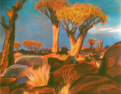 Quiver Tree Forest Keetmanshoop, Namibia (landscapes, Pastel) - Fine Art by Donald G. Vogl, Fort Collins, Colorado