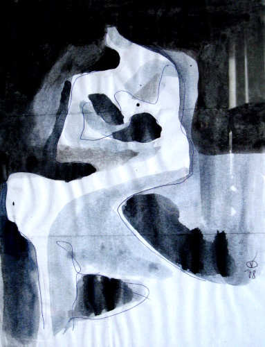 Rock A Bye  (abstracts figures monochromes, Acrylic) - Fine Art by Donald G. Vogl, Fort Collins, Colorado