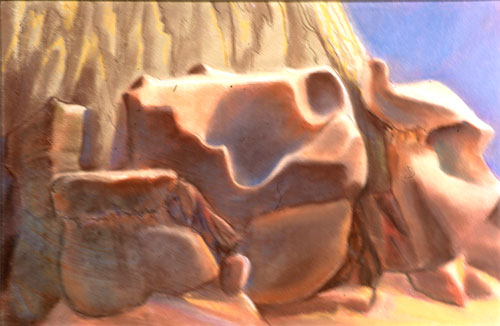 Rock Nest Goblin Valley State Park, Utah (landscapes, Pastel) - Fine Art by Donald G. Vogl, Fort Collins, Colorado