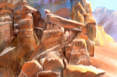 Rock Birds Goblin Valley State Park, Utah (landscapes, Pastel) - Fine Art by Donald G. Vogl, Fort Collins, Colorado