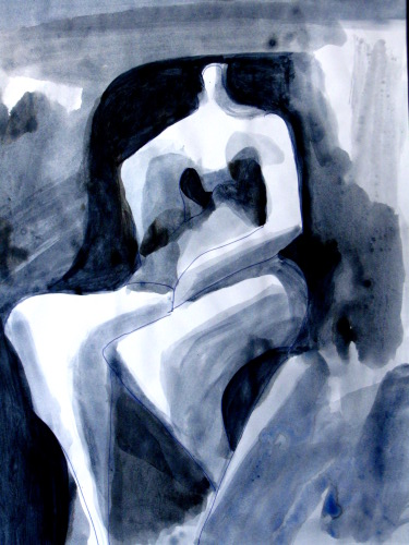 Satin  (abstracts figures monochromes, Acrylic) - Fine Art by Donald G. Vogl, Fort Collins, Colorado