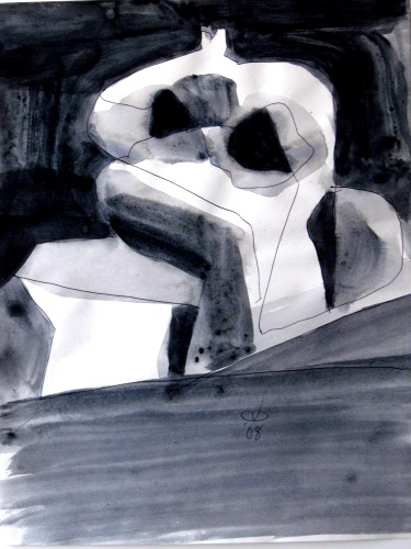 Setee  (abstracts figures monochromes, Acrylic) - Fine Art by Donald G. Vogl, Fort Collins, Colorado