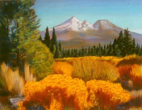 Mount Shasta Gold Mount Shasta, California (landscapes, Pastel) - Fine Art by Donald G. Vogl, Fort Collins, Colorado