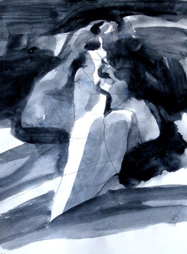 Shelter  (abstracts figures monochromes, Acrylic) - Fine Art by Donald G. Vogl, Fort Collins, Colorado