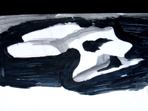 Shimmer  (abstracts figures monochromes, Acrylic) - Fine Art by Donald G. Vogl, Fort Collins, Colorado