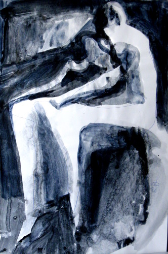 Shock  (abstracts figures monochromes, Acrylic) - Fine Art by Donald G. Vogl, Fort Collins, Colorado