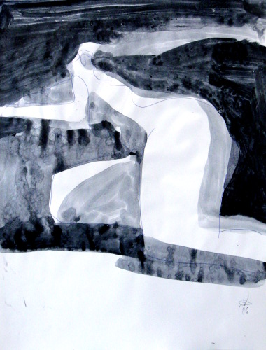 Silk  (abstracts figures monochromes, Acrylic) - Fine Art by Donald G. Vogl, Fort Collins, Colorado