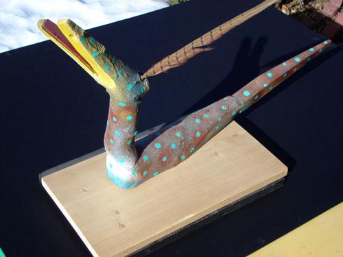 Snake Bird  (ceramics animals, Wood) - Fine Art by Donald G. Vogl, Fort Collins, Colorado