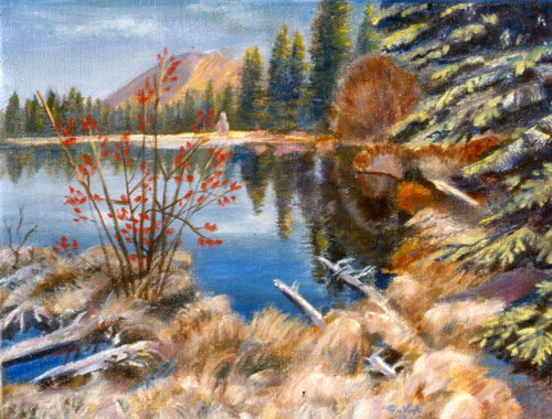Sprague Lake, End of Autumn Rocky Mountain National Park, Colorado (landscapes, Oil) - Fine Art by Donald G. Vogl, Fort Collins, Colorado