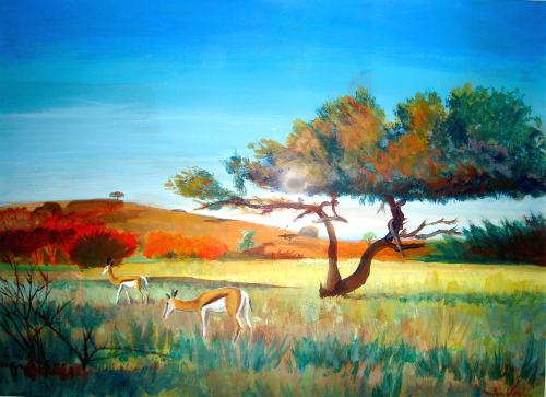 Springbok Namibia (landscapes animals, Acrylic) - Fine Art by Donald G. Vogl, Fort Collins, Colorado