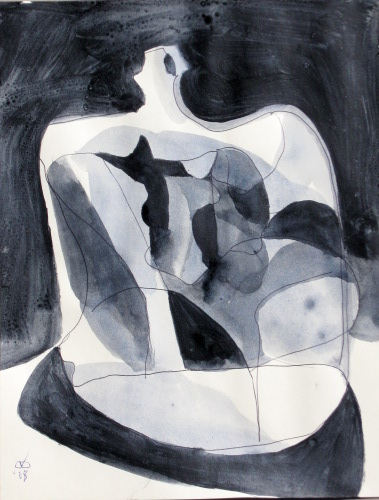 Steady as a Rock  (abstracts figures monochromes, Acrylic) - Fine Art by Donald G. Vogl, Fort Collins, Colorado