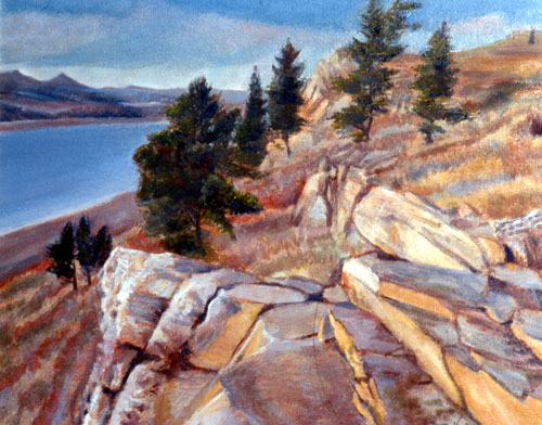 Sunset Glow Horsetooth Reservoir, Colorado (landscapes, Oil) - Fine Art by Donald G. Vogl, Fort Collins, Colorado