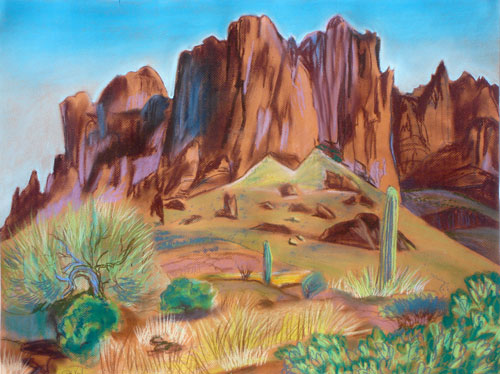 Superstition Mountain Superstition Mountain, Arizona (landscapes, Pastel) - Fine Art by Donald G. Vogl, Fort Collins, Colorado