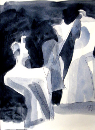 Teetering  (abstracts figures monochromes, Acrylic) - Fine Art by Donald G. Vogl, Fort Collins, Colorado
