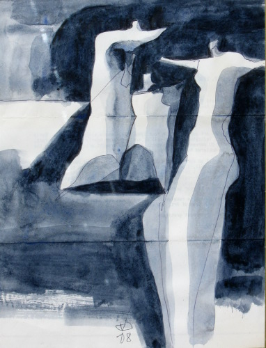 Time To Stretch  (abstracts figures monochromes, Acrylic) - Fine Art by Donald G. Vogl, Fort Collins, Colorado