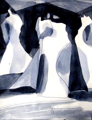 Trio  (abstracts figures monochromes, Acrylic) - Fine Art by Donald G. Vogl, Fort Collins, Colorado