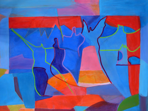 Welcome Home  (abstracts figures, Acrylic) - Fine Art by Donald G. Vogl, Fort Collins, Colorado