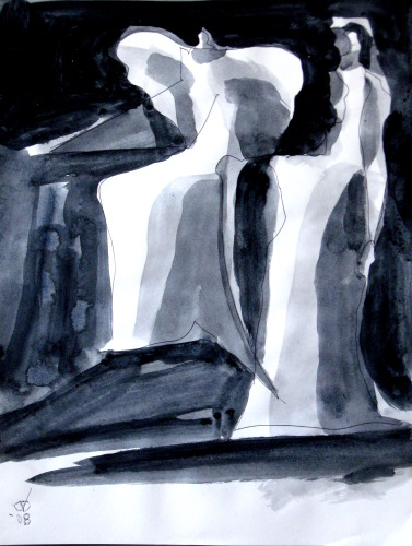 Wingspread  (abstracts figures monochromes, Acrylic) - Fine Art by Donald G. Vogl, Fort Collins, Colorado