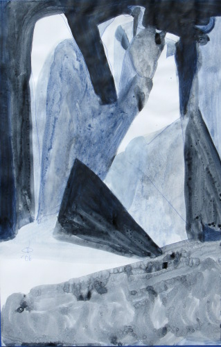 Written in Stone  (abstracts figures monochromes, Acrylic) - Fine Art by Donald G. Vogl, Fort Collins, Colorado