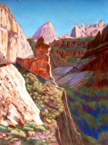 Lion in Summer Arizona (landscapes, Pastel) - Fine Art by Donald G. Vogl, Fort Collins, Colorado