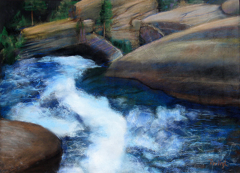 Top of Alberta Falls Rocky Mountain National Park, Colorado (landscapes, Pastel) - Fine Art by Donald G. Vogl, Fort Collins, Colorado