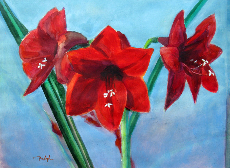 Amaryllis  (still-lifes, Acrylic) - Fine Art by Donald G. Vogl, Fort Collins, Colorado