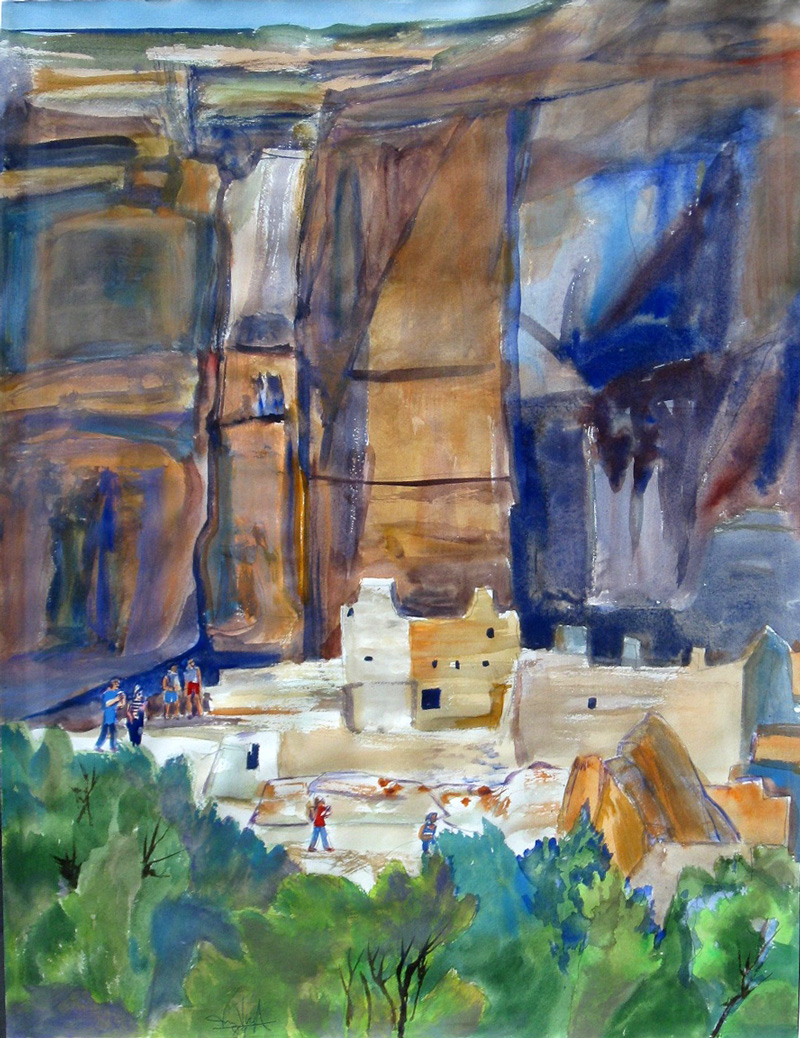 Antelope House Mesa Verde National Park, Colorado (landscapes, Watercolor) - Fine Art by Donald G. Vogl, Fort Collins, Colorado