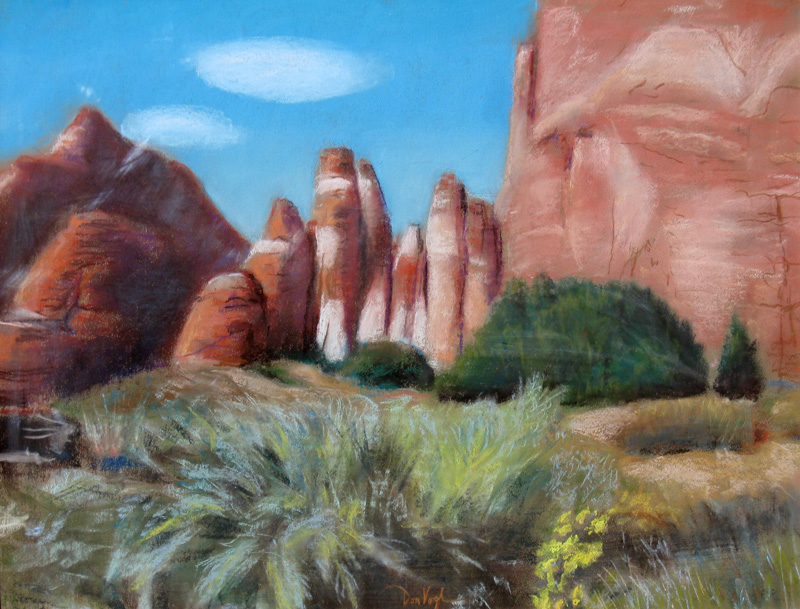 Path to North Windows Arches National Park, Utah (landscapes, Pastel) - Fine Art by Donald G. Vogl, Fort Collins, Colorado
