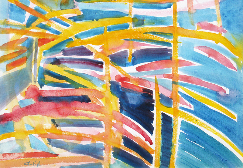 At the Pier  (abstracts, Watercolor) - Fine Art by Donald G. Vogl, Fort Collins, Colorado