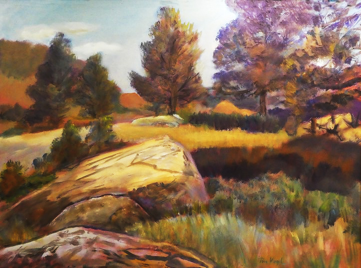 High Ground Piano Boulders, Horsetooth Reservoir, Fort Collins, CO (landscapes, Pastel) - Fine Art by Donald G. Vogl, Fort Collins, Colorado