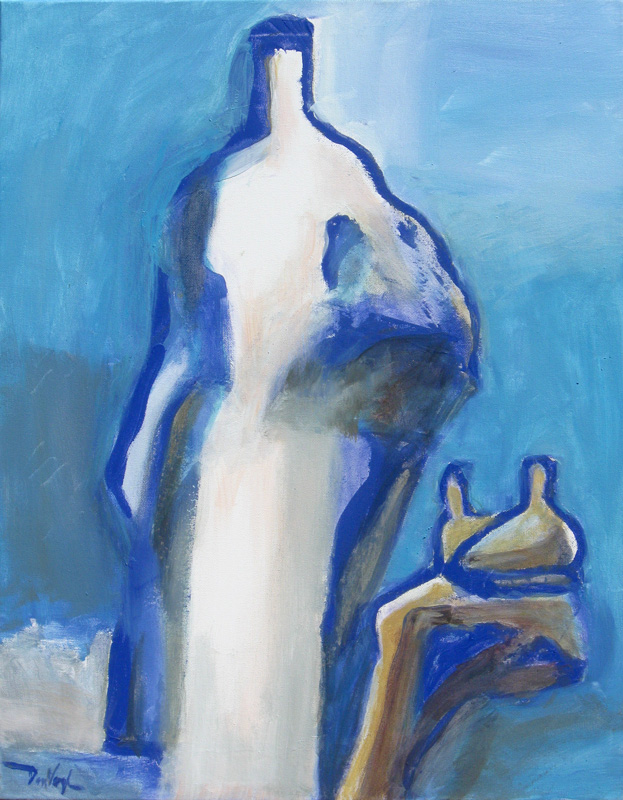 Baggage  (abstracts figures, Oil) - Fine Art by Donald G. Vogl, Fort Collins, Colorado