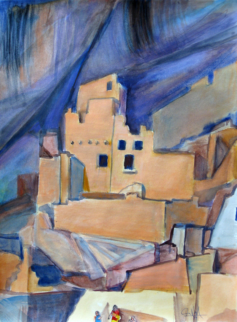 Balcony House Mesa Verde National Park, Colorado (landscapes, Watercolor) - Fine Art by Donald G. Vogl, Fort Collins, Colorado