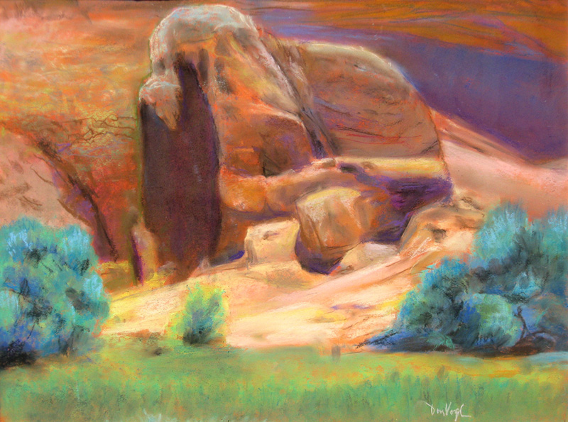 Base Formation, Garden of the Gods Garden of the Gods, Colorado Springs, Colorado (landscapes, Pastel) - Fine Art by Donald G. Vogl, Fort Collins, Colorado