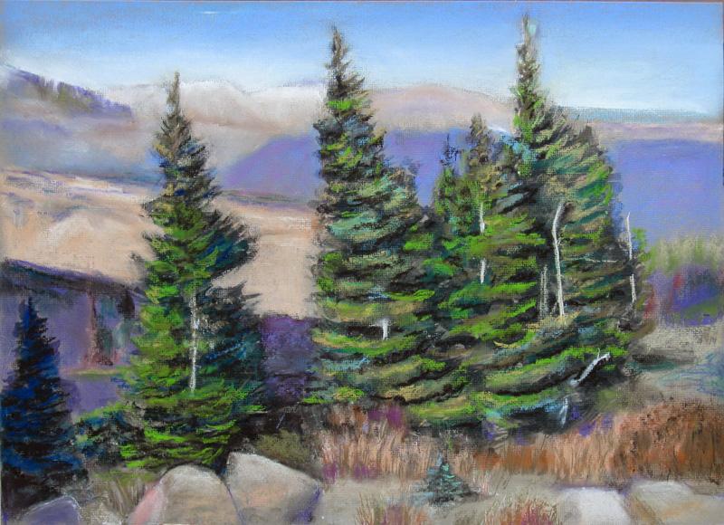Beyond Rainbow Curve Rocky Mountain National Park, Colorado (landscapes, Pastel) - Fine Art by Donald G. Vogl, Fort Collins, Colorado