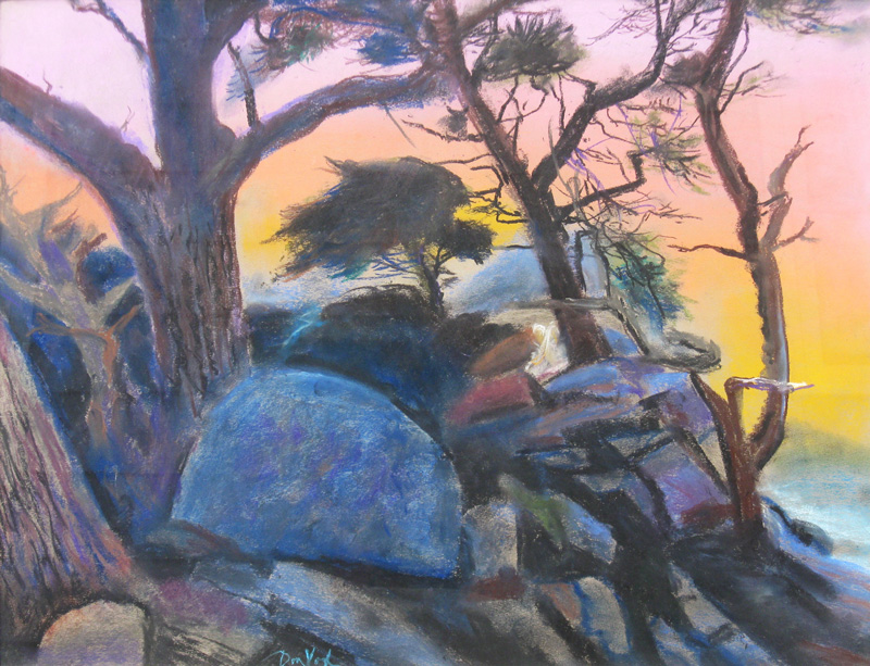 Big Sur at Dusk Big Sur, California (landscapes, Pastel) - Fine Art by Donald G. Vogl, Fort Collins, Colorado