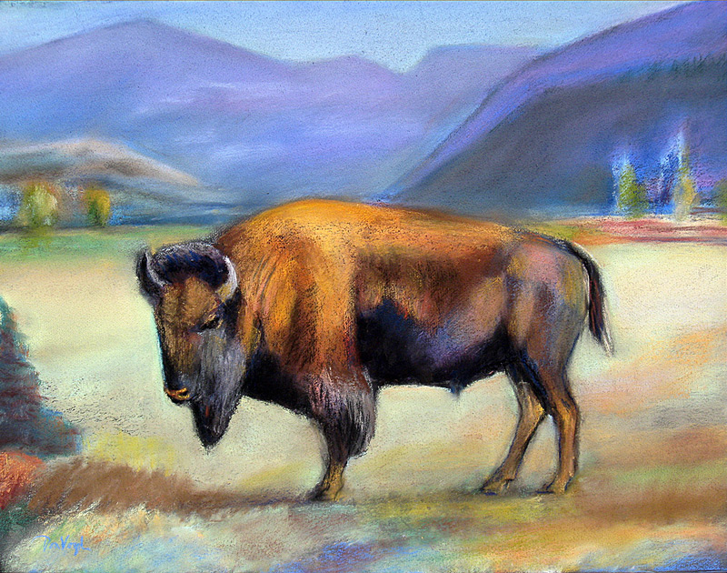 Bison  (animals, Pastel) - Fine Art by Donald G. Vogl, Fort Collins, Colorado