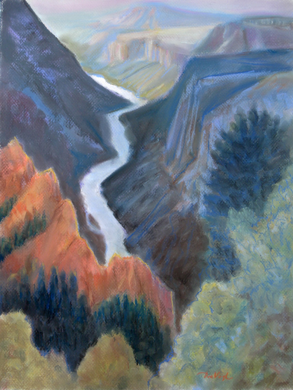 Blue Canyon Arizona (landscapes, Pastel) - Fine Art by Donald G. Vogl, Fort Collins, Colorado