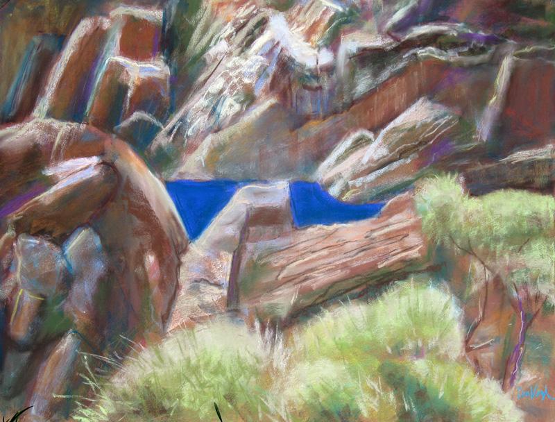 Blue Velvet Namibia (landscapes, Pastel) - Fine Art by Donald G. Vogl, Fort Collins, Colorado