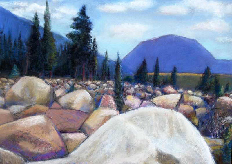 Boulder, Mountain Rocky Mountain National Park, Colorado (landscapes, Pastel) - Fine Art by Donald G. Vogl, Fort Collins, Colorado