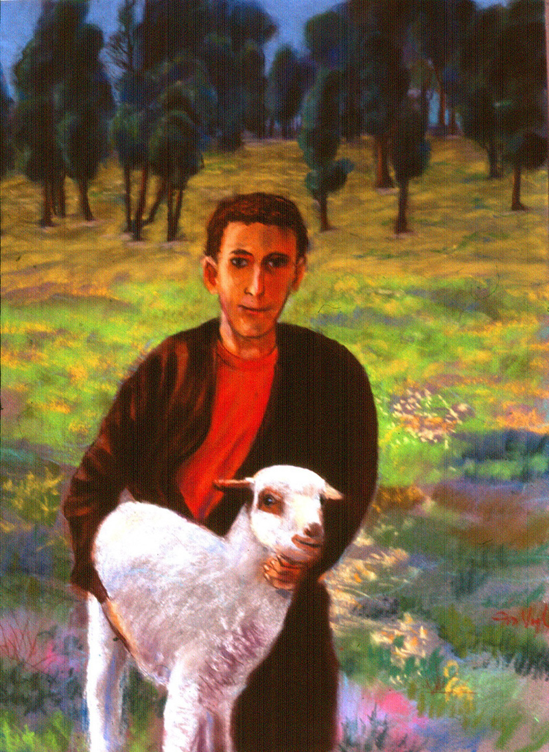 Boy with Lamb Morocco (portraits animals, Oil) - Fine Art by Donald G. Vogl, Fort Collins, Colorado